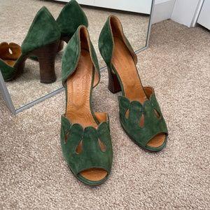 Chie Mihara Green Suede Peep Toe Heels Size 38